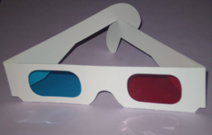 Paper glasses for viewing Anaglyphs.