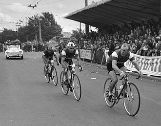 1956 Tour de France - André Darrigade leading into the finish of stage one in Liège, Belgium, which he won
