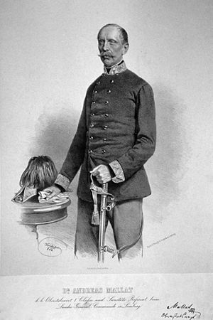 Oberstarzt -  D.M. Andreas Mollat Roth, here as k. k. Oberstabsarzt, about 1863