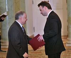 Andrzej Duda - Former President Lech Kaczyński appointing Duda as undersecretary of state in the Ministry of Justice, 16 January 2008