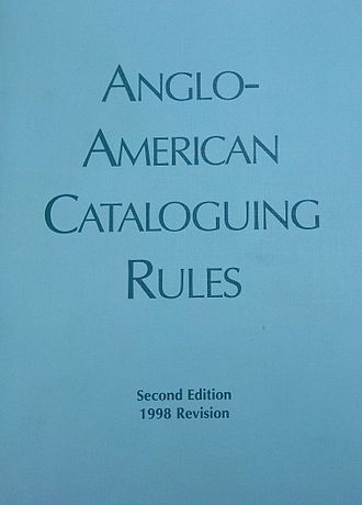 Anglo-American Cataloguing Rules - Image: Anglo American cataloging rules