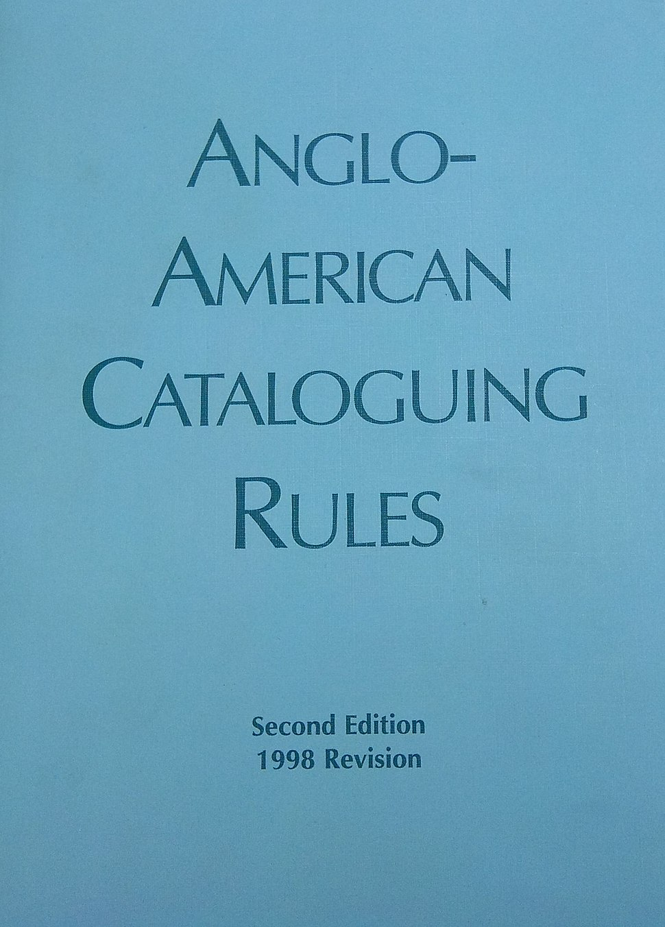 Anglo American cataloging rules