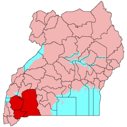 Location of Ankole (red) in Uganda (pink).