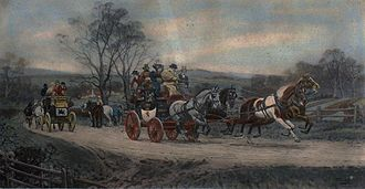 Intercity bus service - Behind time, anonymous engraving of a stagecoach in England.