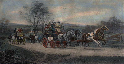 """Behind time"" an anonymous engraving of a stagecoach in England"