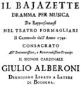 Anonymous - Il Bajazette - title page of the libretto - Bologna 1740.png