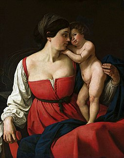 A Madonna and Child painting by an anonymous Italian from the first half of the 19th century, oil on canvas. Anonymous Madonna with big breasts.jpg