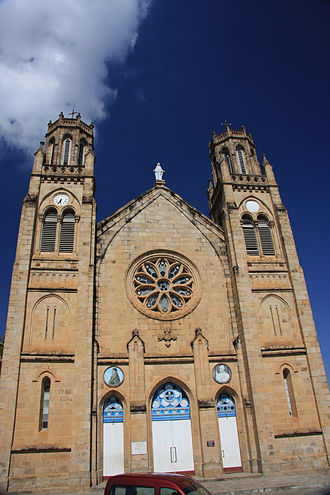 Christianity in Madagascar - Andohalo cathedral, built on a cliff in Antananarivo where Queen Ranavalona I had early Malagasy Christian martyrs executed