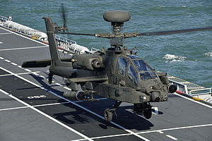 Attack helicopter on aircraft carrier