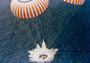 Splashdown - Apollo 15 makes contact with the Pacific Ocean