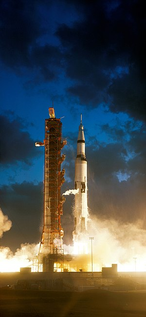 Apollo 4 - Apollo 4, the first flight of a Saturn V launch vehicle, rises from Launch Pad 39A