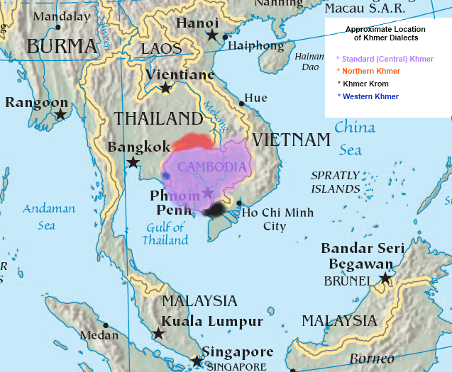 Approximate Location of Khmer Dialects