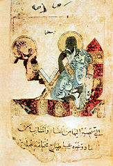 Ilustrasi berbahasa Arab dari kr. 1220 yang menggambarkan Aristoteles sedang mengajar. Ibnu Rusyd banyak menulis tafsir terhadap karya-karya Aristoteles.
