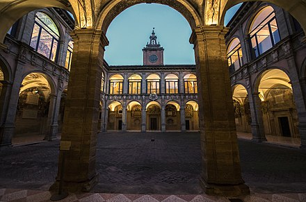 Bologna University, established in AD 1088, is the world's oldest academic institution. Archiginnasio ora blu Bologna.jpg