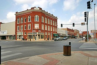 Ardmore, Oklahoma -  Main and Washington streets, downtown Ardmore