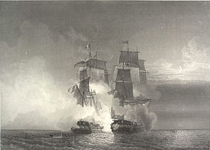 Action of 7 February 1813 - The fight of the French frigate Aréthuse and Amelia on the shores of Guinea, 7 February 1813, after Louis-Philippe Crépin.