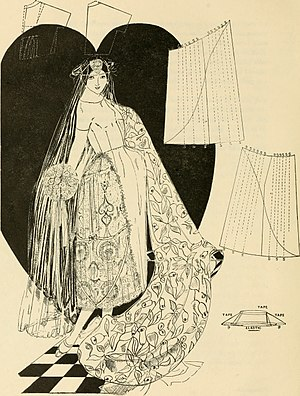 Robe de style - A robe de style wedding dress, 1922. A sketch for a pannier to wear underneath is in the lower right-hand corner.