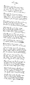Hand written sheet of «Les Assis»