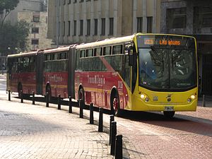 Bi-articulated bus - A Busscar bi-articulated in Bogota, Colombia.
