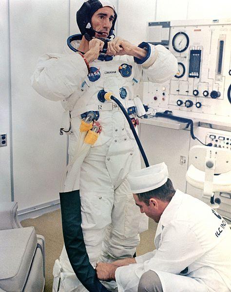 File:Astronaut Walt Cunningham suiting up.jpg