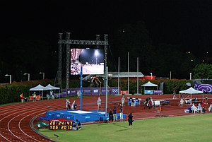 Under-18 athletics - The race of pole vault boys at the 2010 Summer Youth Olympics held in Singapore.