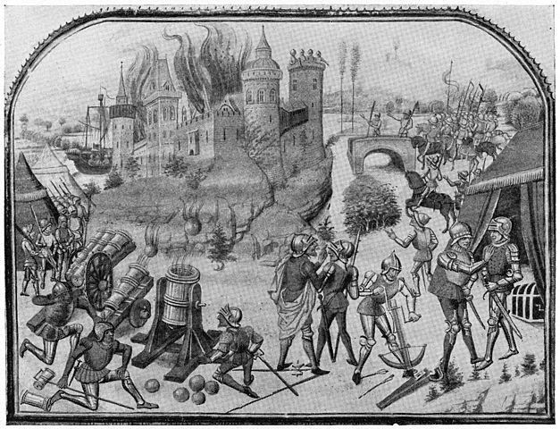 Осада крепости на изображении 1460 года. Показаны (слева направо) пушки на примитивных колёсных лафетах (дульно- и казнозарядные), а также мортира с цапфами (изобретены около 1450 года). Именно на такие примитивные лафеты ставились полевые пушки до середины XV века - Артиллерийская революция | Военно-исторический портал Warspot.ru