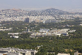 National Technical University of Athens - View of the Zografou campus from Kalogeros hill