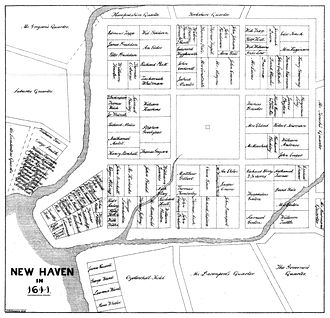 New Haven, Connecticut - The 1638 nine-square plan, with the extant New Haven Green at its center, continues to define New Haven's downtown
