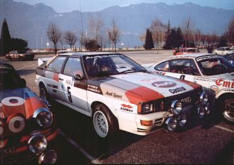 Michèle Mouton - Mouton's Quattro in Monte Carlo, between two Porsche 911 SCs