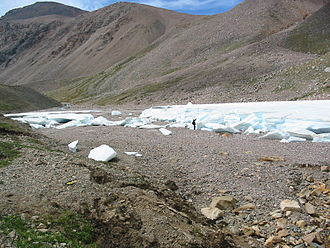 Aufeis - A sheet of aufeis in a glacial valley in Mongolia