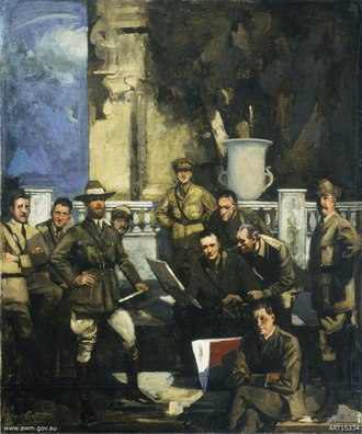 George James Coates - Group portrait of Australian official war artists, 1916-1918 by George Coates, 1920. Oil on canvas, 124.2 x 104.5 cm. The painting presents, left to right: front — George Bell; standing — John Longstaff, Charles Bryant, George Washington Lambert, A. Henry Fullwood, James Quinn, H. Septimus Power, Arthur Streeton; and seated back — Will Dyson, Fred Leist.
