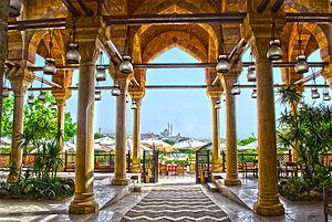 Al-Azhar Park - View of Mosque of Muhammad Ali from Studio Masr Restaurant