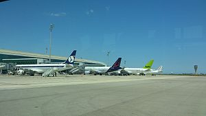 Transport in Europe - Aircraft from LOT Polish Airlines, Brussels Airlines, airBaltic and Air Europa at Barcelona Airport.
