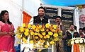 Babul Supriyo addressing at the inauguration of the construction of five numbers of Foot Over Bridges (FOB)s on NH-2, at a centralized function, in Andal More, Paschim Bardhaman, West Bengal.jpg