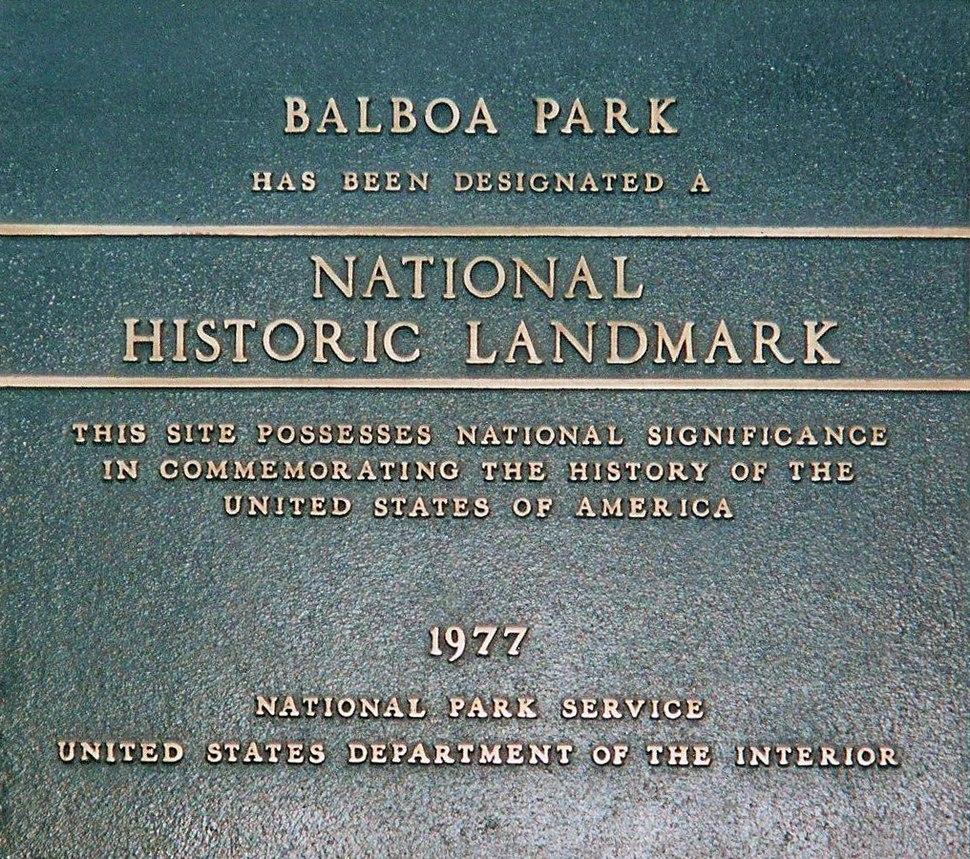 Balboa Park (plaque)