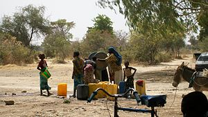 Water supply and sanitation in Burkina Faso - A village pump in Balga, a village in Eastern Burkina Faso.