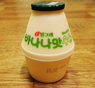 Banana Flavored Milk South Korean milk beverage