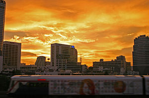 A sunset burning sky in Bangkok