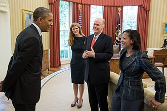 Samantha Power - Power with President Barack Obama in the Oval Office on 5 June 2013
