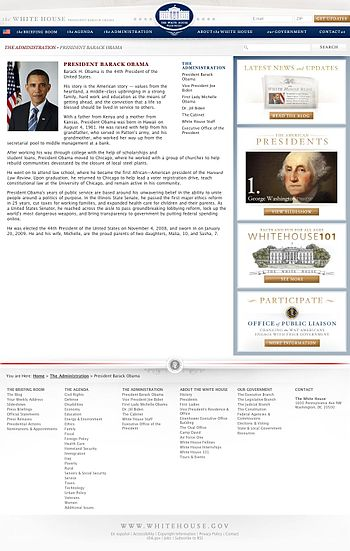 The biography of President Barack Obama that appears on White House.gov