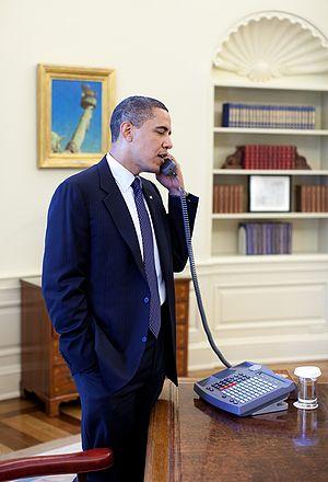 President Barack Obama speaks by phone to Sena...