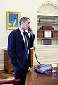 Barack Obama on phone with Arlen Specter 4-28-09.JPG