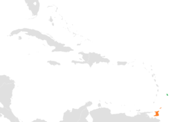Map indicating locations of Barbados and Trinidad and Tobago