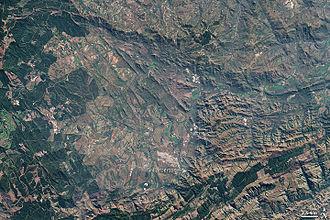 Barberton, Mpumalanga - The Barberton Mountain Range, 2001 image from NASA's Landsat 7 satellite