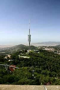 The Torre de Collserola in the Tibidabo Hill is the highest structure in Barcelona (288m).