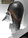 Basinet helmet with dog-faced visor and aventail (mail hood), probably Germany - Higgins Armory Museum - DSC05492.JPG