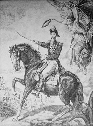 "Miguel Navarro Cañizares - Lithograph copy of the   ""Battle of Apure"" (1873)"