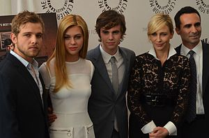 Bates Motel (TV series) - The cast promoting the series at the Paley Center for Media, 2013 (left to right) Thieriot, Peltz, Highmore, Farmiga, and Carbonell