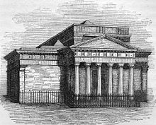 A etching of an early large Victorian building with six columns in a large porch