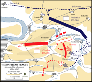 Battle of Prague, 6 May 1757 - Attempted envelopment.png